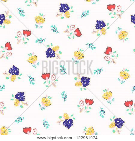 Seamless floral background. Isolated flowers and leafs on white background. Vector illustration.