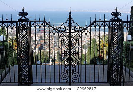 HAIFA ISRAEL - MARCH 01 2016: Gates upper terrace Bahai Gardens on Mount Carmel