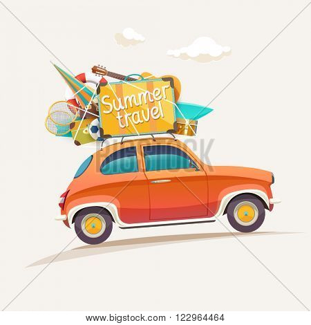 Summer travel illustration with lettering.