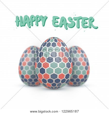 Illustration of Realistic Vector Easter Egg Set. Happy Easter Painted Vector Egg Set with DOF Depth of Field Photography Effect Isolated on White Background