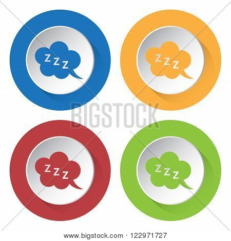 set of four colored icons - ZZZ speech bubbles