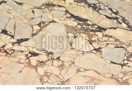 Polychrome marble slab from a wall as background with veins poster