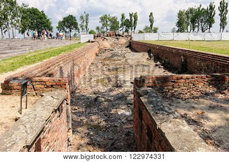OSWIECIM, POLAND - JULY 3, 2009: Auschwitz II - Birkenau, entrance to the underground disrobing chamber where the roof has collapsed into the chamber