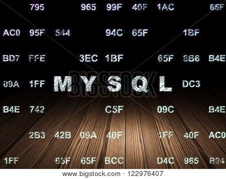 Database concept: MySQL in grunge dark room