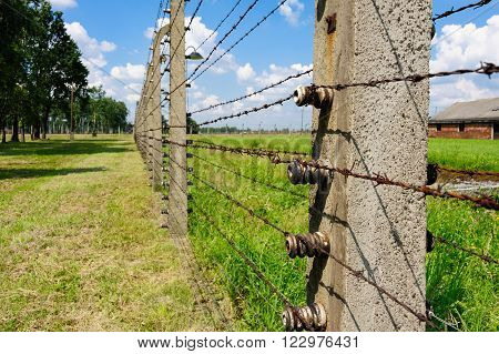 Auschwitz II - Birkenau, aspect and closeup of the electrified barbed wire fence