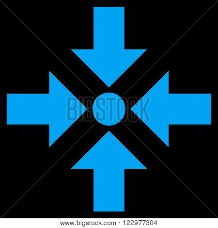 Shrink Arrows vector icon. Style is flat icon symbol, blue color, black background.