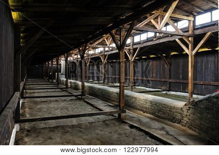 OSWIECIM, POLAND - JULY 3, 2009: Auschwitz II - Birkenau wooden barracks. The long duct along the center of the floor was supposed to heat the whole barracks from the stoves at either end.