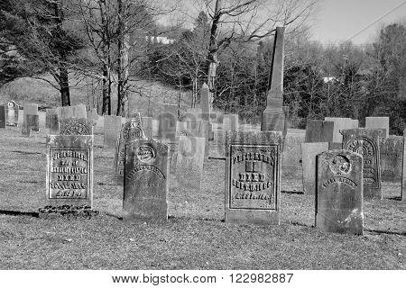 FRELIGHSBURG QUEBEC CANADA MARCH 20 2016: Bishop Stewart Memorial Church cemetery, Also known as Frelighsburg Anglican Cemetery, Holy Trinity Anglican Cemetery