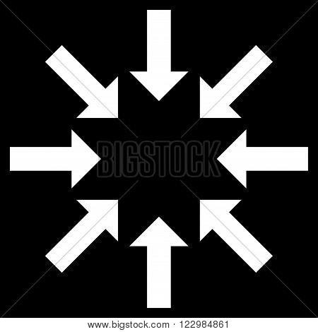Collapse Arrows vector icon. Style is flat icon symbol, white color, black background.