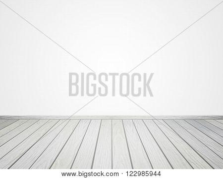 White Wood Floor On White Background