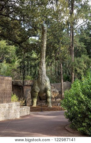 PERTH, WA / AUSTRALIA - MARCH 13: Front standing Argentinosaurus display model in Perth Zoo as part of Zoorassic exhibition. Similar to Diplodocus and Brontosaurus in March 2016