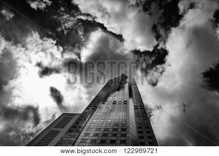 Black and white of the Singapore  financial distric