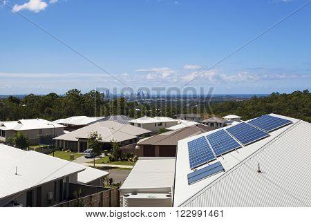 Solar panels on a sunny suburban home