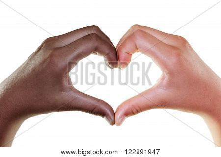 Female hands in the form of heart isolated on white background Multiethnic