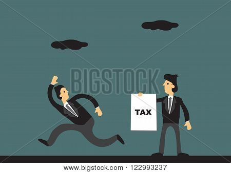 Cartoon businessman running away from tax collector. Vector illustration on tax evasion concept.