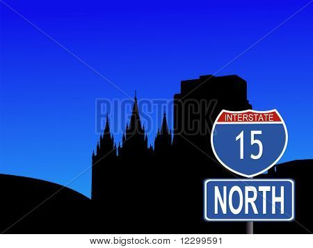 Salt Lake city skyline with interstate 15 sign JPG