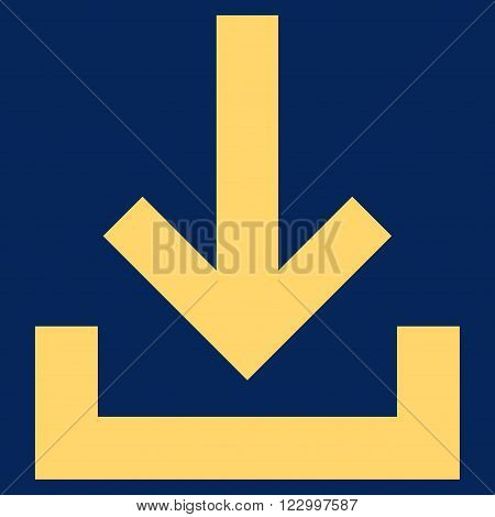 Inbox vector icon. Image style is flat inbox icon symbol drawn with yellow color on a blue background.