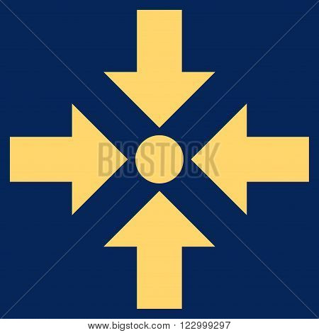 Shrink Arrows vector icon. Image style is flat shrink arrows pictogram symbol drawn with yellow color on a blue background.