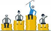 Pension savings fund concept, flat design illustration poster
