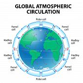 Circulation of Atmosphere. Global circulation patterns or Hadley-Ferrel Model poster
