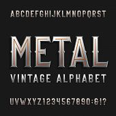 Vintage style alphabet vector font. Metal effect letters and numbers on a dark background. Retro vector typeface for labels, flyers, headlines, posters etc. poster