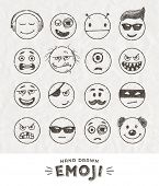 Hand drawn set of Emoticons. Vector set of Emoji. Smile icons. Vector illustration. poster
