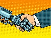 Handshake of robot and man. New technologies and evolution pop art retro style. Robotics. Computers and gadgets. E-business. poster