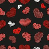 Seamless Pattern with Stylized hand-drawn Scribble Hearts. St. Valentine's Day or Weddings Design Element. Doodle Sketch Childlike Style. Vector background. poster