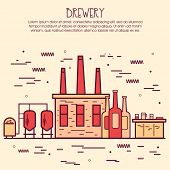 One page web design template, line art flat icons based on family brewery factory production, beer brewing process, traditional beer crafting. Hero image, website layout and website slider. poster