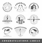 Set of congratulations labels. Elements for design on the congratulations theme. Collection of congratulations symbols: handshake applause champagne. Modern labels of congratulations. Illustration poster