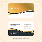 Creative Golden Business Visiting Card Vector Design Template. Vector Illustration. Stationery Design. Gold and Black Colors poster