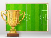 Golden trophy cup against soccer pitch. Sport award and association football field. Qualitative vector illustration about soccer reward sport victory football championship winning etc. It has transparency blending modes mesh mask blend poster