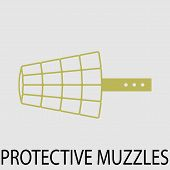 Protection muzzle animal dog. Protection snout equipment protetion mouth. Vector abstract flat design illustration poster