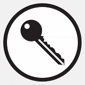 Key icon monochrome black white. Car keys house keys key icon old key key door safe security unlock secret password close. Vector abstract flat design illustration poster