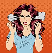 Angry Woman. Furious Girl. Negative Emotions. Bad Days. Bad Mood. Stressful Woman. Comic Background. Pop Art Banner. Vector illustration poster