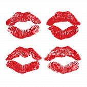 Lipstick kiss isolated on white lips set design element. Print of lips. Vector illustration. Red lips imprints poster