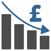 Pound Recession Bar Chart vector icon. Pound Recession Bar Chart icon symbol. Pound Recession Bar Chart icon image. Pound Recession Bar Chart icon picture. Pound Recession Bar Chart pictogram. poster
