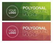 Horizontal colorful vibrant modern polygonal banner mock ups poster