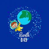 Creative World Environment Day Greeting stock vector art. Earth Day space kids illustration with planet and astronaut. April holiday illustration with cartoon earth planet, young astronaut, and typography tag. Save green earth card. poster