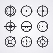 AIM crosshair set icons for computer PC games shooters, arcades, mouse cursors pointers, cross lines in circles, original aim pictograms images poster