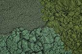background of chlorella, spirulina and blue-green  sea algae supplement powder poster