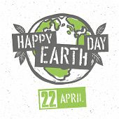 Typographic design for Earth Day. Concept Poster With Earth Symbol. Raster version. On recycled paper texture poster