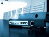 HR Solutions. Concept on Toned Background. HR Solutions - Ring Binder on Wooden Desktop. HR Solutions - Concept. HR Solutions - Business Concept on Toned Background. 3D. poster
