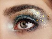 Beautiful woman eye. Perfect makeup. Beauty fashion. Eyelashes. Lips. Cosmetic Eyeshadow. Make-up detail. Eyeliner. poster
