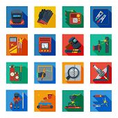 Welding flat icons in colorful squares with welder tools protection clothes and measuring instrument isolated vector illustration poster
