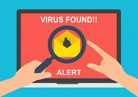 Virus detected found on labtop computer attachment with email and hands holding magnifying glass. Vector illustration flat design computer technology online internet cyber crime protected concept.