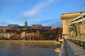 Buda Castle And Chain Bridge On Danube River