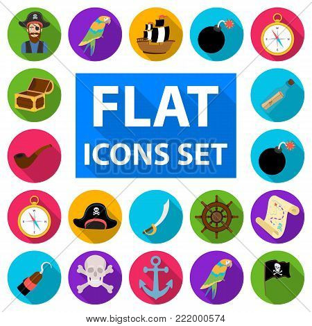 Pirate, sea robber flat icons in set collection for design. Treasures, attributes vector symbol stock  illustration.