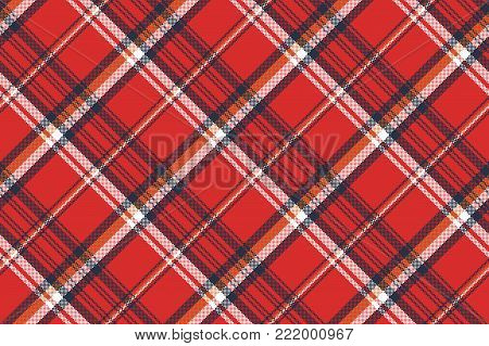 Red plaid fabric texture pixel seamless pattern. Vector illustration.