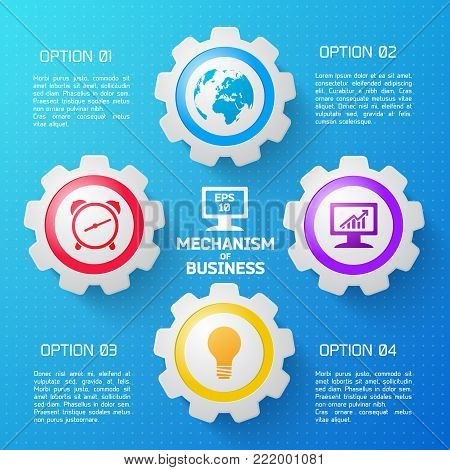Mechanism of business background with colorful elements and description of options flat vector illustration
